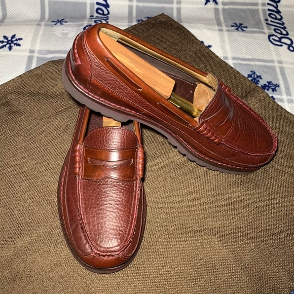 L.L. Bean Allagash Bison Leather Loafers 10D